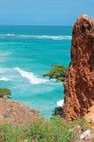 Aperçu de la Mer d'Oman, des falaises et des roches rouges, arbres, vagues, île d'île de Socotra, Yémen Photographie stock
