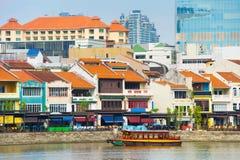 Aperçu de Quay de bateau, Singapour Image stock