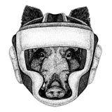 Aper, beer, varken, everzwijn Bokserdier Vectorillustratie voor t-shirt Sport, vechter op witte achtergrond wordt geïsoleerd die stock illustratie