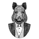Aper, boar, hog, wild boar, hog, Hipster animal Hand drawn image for tattoo, emblem, badge, logo, patch, t-shirt Stock Photo