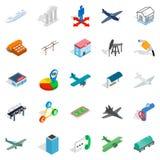 Aperfeiçoando os ícones ajustados, estilo isométrico ilustração royalty free