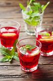 Aperitif with campari, mint and lemon Stock Photography