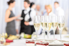 Aperitif champagne for meeting participants Stock Images