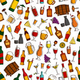 Aperitif drinks and cocktails seamless pattern Stock Images