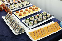 Aperitif food. Sandwiches ready for a aperitif party royalty free stock images