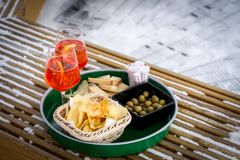 Free Aperitif For Two People On The Alps Stock Image - 109299941