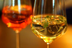 Aperitif red and yellow. A little alcohol royalty free stock photo