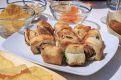 Aperitif - tiny hot dogs stock images
