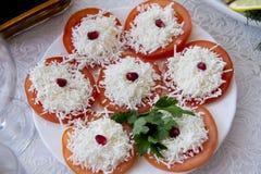 Aperitif von Tomaten mit Käse Lizenzfreie Stockfotografie