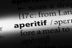 Aperitif. Word in a dictionary.  concept royalty free stock image