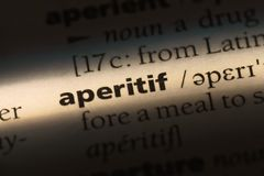 Aperitif. Word in a dictionary.  concept stock image
