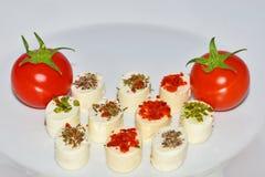 Aperitifost med körsbärsröda tomater Royaltyfri Fotografi