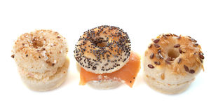 Aperitive bagel. In front of white background Stock Photo