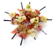 Aperitive brochette. In front of white background Stock Images