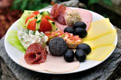 Aperitive dish in rocks. Wedding aperitive dish on rocks Stock Images