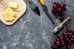 Aperitive parmesan cheese and red grape on grey stone table background copyspace top view. Aperitive parmesan cheese and red grape on grey stone table background Royalty Free Stock Photos