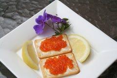 Aperitivo com caviar do russo Fotografia de Stock