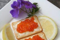 Aperitivo com caviar do russo Foto de Stock Royalty Free