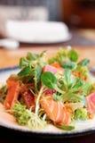 Aperitivo con el atún y los salmones fritos raros Imagen de archivo libre de regalías