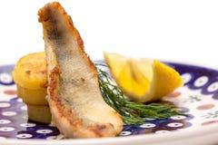 Aperitivo del filete de la perca con las patatas, el limón y el eneldo fritos Fotografía de archivo libre de regalías