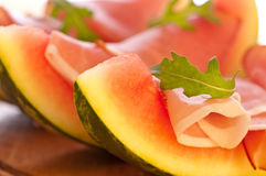 Aperitivo del melón y del jamón Fotografía de archivo