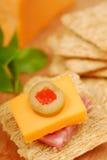 Aperitivo del queso y del salami Fotografía de archivo libre de regalías
