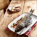 Aperitivo delicioso do marisco do badejo grelhado foto de stock
