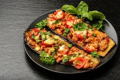 Aperitivo delicioso - las berenjenas asadas a la parrilla cocieron con la carne picadita, los tomates y el queso fotos de archivo