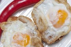 Aperitivo dell'uovo di quaglia fritto Fotografie Stock Libere da Diritti
