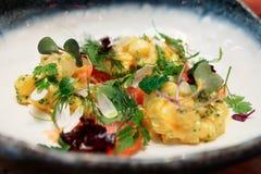 Aperitivo di haute cuisine con il salmone e le patate immagine stock
