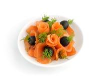 Aperitivo dos salmões com erva-doce e azeitonas Foto de Stock