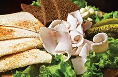 Aperitivo. Pani tostati, lardo salato fotografia stock
