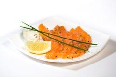Aperitivo Salmon aperitivo Salmon fumado fumado imagens de stock