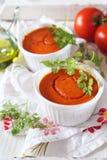 Aperitivo vegetal: soufflе del tomate, manojo de tomates y oliv Imagenes de archivo
