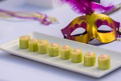 Aperitivos temáticos de Mardi Gras imagens de stock royalty free