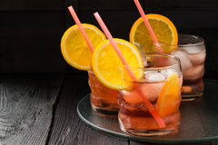 Aperol cocktail with orange slices and ice Royalty Free Stock Photography