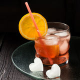 Aperol cocktail with orange slices and ice Stock Photography