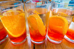 Aperol drinks on table Royalty Free Stock Image