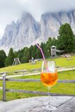 Aperol Spritz cocktail with background in Alto Adige / South Tyrol, Italy.  stock photos
