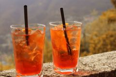 Aperol Spritz cocktail. Beverage with orange slices and ice cubes. royalty free stock photos