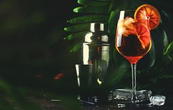 Free Aperol Spritz Cocktail In Big Wine Glass With Bloody Oranges, Summer Italian Fresh Alcohol Cold Drink. Wooden Bar Counter Royalty Free Stock Image - 139851496