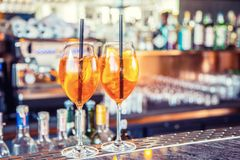 Aperol spritz drink on bar counter in pub or restaurant Stock Photo