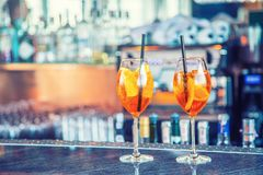 Aperol spritz drink on bar counter in pub or restaurant Stock Photography
