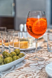 Aperol Spritz. And green olives Stock Photography