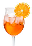 Aperol Spritz in a wine glass decorated with an orange Royalty Free Stock Images