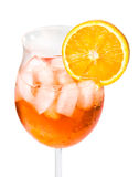 Aperol Spritz in a wine glass decorated with an orange slice Royalty Free Stock Photography