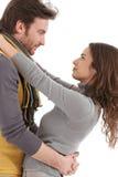 Aperto de beijo dos pares loving novos Fotografia de Stock Royalty Free