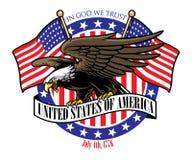 Aperto de Eagle o sinal da fita dos EUA com a bandeira como um fundo ilustração royalty free