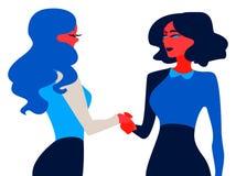 Aperto de mão As mulheres de negócios vieram a um contrato do acordo ilustração do vetor