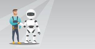 Aperto de mão caucasiano novo do homem com robô ilustração stock